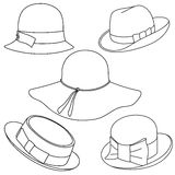 Set of hats on white background Royalty Free Stock Images