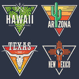 Set of Hawaii Arizona Texas New Mexico tee prints. T-shirt designs labels typography.Vector illustration Royalty Free Stock Images