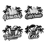Set of Hawaii, California, Goa and Thailand hand written lettering. Royalty Free Stock Photography