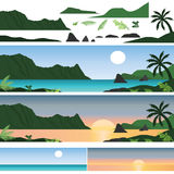 Set of Hawaii Island and Beach Stock Photo