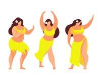 Set of Hawaiian hula dancer. Vector illustration. Stock Image
