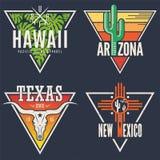 Set Hawaje Arizona Teksas Nowy - Mexico trójnika druki Obrazy Royalty Free