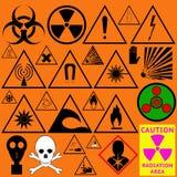 Set of hazard symbols. Biological, radiation, chemical and other Stock Image