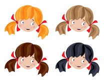 Set of head funny girl Stock Photography