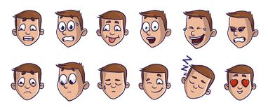 Set of head images with different emotional expressions. Emoji cartoon faces conveying verious feelings. Isolated vector Royalty Free Stock Photography