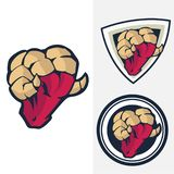 set of head rams logo with shield background royalty free illustration