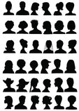Set of head silhouettes Stock Image