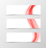 Set of header banner dynamic design. With red bright elegant lines in wavy smooth soft style. Vector illustration Stock Image