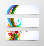 Set of header banner dynamic wave design Royalty Free Stock Photography