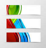 Set of header banner dynamic wave design. With green, blue and red lines and transparent circles in digital style. Vector illustration Royalty Free Stock Images