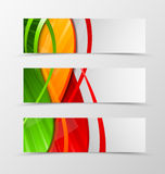 Set of header banner dynamic wave design. With green, red and orange lines in digital shiny style. Vector illustration Stock Image