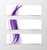 Set of header banner soft design. With purple light lines in wavy smooth elegant style. Vector illustration vector illustration
