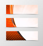 Set of header banner technologic design. With digital dynamic mosaic circle surface in color and wave style. Vector illustration Royalty Free Stock Photos