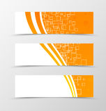 Set of header banner technologic design. With with orange lines and digital dynamic mosaic square background in wave style. Vector illustration Royalty Free Stock Images