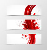 Set of header banner wave design. With lines in dynamic grunge style. Vector illustration Stock Photo