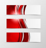 Set of header banner wave design. With lines and halftone effect in bright style. Vector illustration Royalty Free Stock Photos