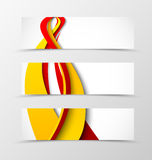 Set of header banner wave design. With red and orange curve lines in bright dynamic style. Vector illustration Royalty Free Stock Photography