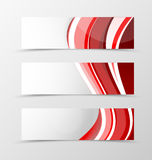 Set of header banner wavy design. With lines in dynamic style. Vector illustration Royalty Free Stock Photo