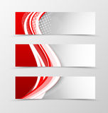 Set of header banner wavy design. With lines and halftone effect in digital style. Vector illustration Stock Photo
