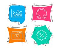 Headphones, Investment and Video content icons. Discount sign. Set of Headphones, Investment and Video content icons. Discount sign. Music listening device Stock Photo