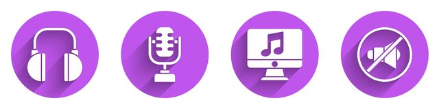 Free Set Headphones, Microphone, Computer With Music Note And Speaker Mute Icon With Long Shadow. Vector Royalty Free Stock Images - 192193469