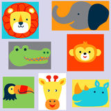 Set heads of animals in Doodle style on non-ferrous substrates. Vector Royalty Free Stock Image