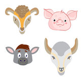 Set heads of animals in Doodle style on white background Stock Photography