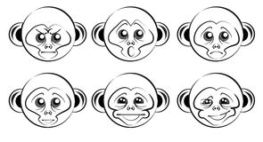 Set of heads of monkeys with different emotions Royalty Free Stock Photo