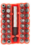Set of heads for screwdriver Royalty Free Stock Photo