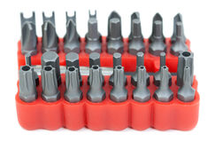 Set of heads for screwdriver in red box Royalty Free Stock Photos