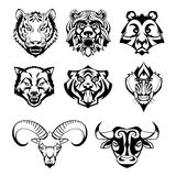 SET heads of wild animals and their victims Royalty Free Stock Images