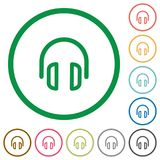 Headset outlined flat icons. Set of headset color round outlined flat icons on white background Stock Images