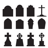 Set of headstone and tombstone silhouette Stock Photos