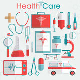 Set of Health Care elements. Stock Photo