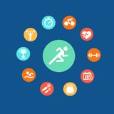 Set health and fitness circular icons. Set health and fitness circular icons and infographics  in flat style Stock Image