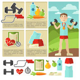 Set of health food and fitness. Royalty Free Stock Photos