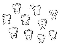 Set of health and illness teeth Royalty Free Stock Photos