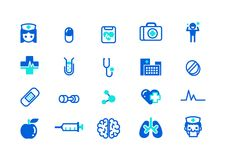 Set of Health and Medical Icons Flat Colored Vector Royalty Free Stock Image