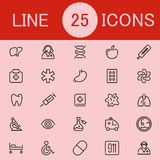 Set Of 25 Healthcare Line Icons. Suitable for web, infographics and apps Stock Photo