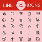 Set Of 25 Healthcare Line Icons. Suitable for web, infographics and apps Royalty Free Stock Photos