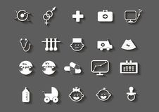 Set of healthcare medical woman pregnancy icons royalty free illustration
