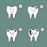 Set of healthy and bad teeth. Royalty Free Stock Photo