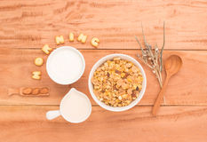 Set a healthy breakfast Arrange to have your health benefits eve Royalty Free Stock Image