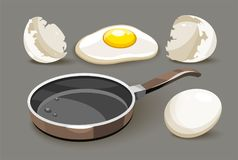 Set for healthy breakfast pan with oil Royalty Free Stock Photography