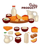 Set of healthy dairy products Royalty Free Stock Images