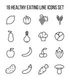 Set of healthy eating icons in modern thin line style. High quality black outline vegeterian symbols for web site design and mobile apps Stock Image