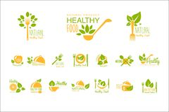 Set of healthy food and drinks logos. Natural product. Vegetarian nutrition. Vector emblems for cafe, restaurant or farm. Set of healthy food and drinks logo Royalty Free Stock Images