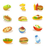Set of healthy food illustrations. Healthy food illustrations for lunch and dinner Royalty Free Stock Photos
