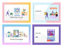 Set of Healthy Food Landing Page Templates. People Characters Produce and Sale in Store Various Ecological Organic Products. As Vegetable, Fruits, Fish, Bakery royalty free illustration