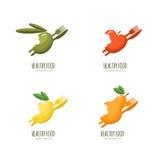 Set of  healthy food logo, emblem, label design. Bitten fruits icons. Stock Images
